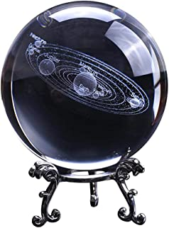 3D Solar System Crystal Ball with Stand Clear Planet Educational Ball Cosmic Model Engraved Glass Ball Sphere Office Decor