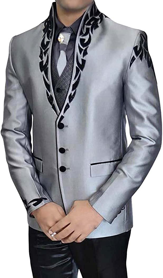 Oakland Mall INMONARCH Mens Sharkskin 6 pc New Orleans Mall Suit TX11265 Tuxedo Patch Work