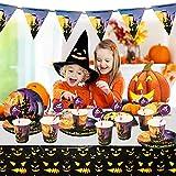 Yisscen Partygeschirr Set, 52 Stück Kindergeburtstag Tischdeko Halloween Deko Set enthält Papptelle Pappbecher Strohhalme Banner Servietten Tischdecke Halloween Tableware(Bietet Platz für 10 Gäste) - 6