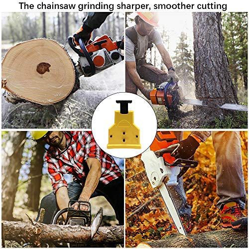 XBUTY Chainsaw Sharpener, The Second Generation New Portable Chain Saw Blade Teeth Sharpener with 4 Pcs Fast-Sharpening Stone Grinder Tools for 14/16/18/20 Inch One/Two/Nonporous Holes Chain Saw Bar