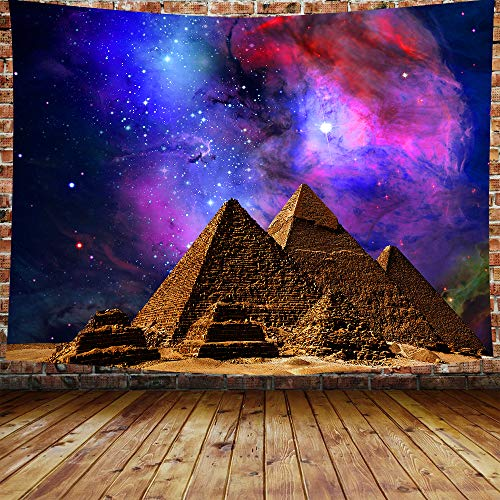 DBLLF Sacred Pyramid Tapestry Egypt Travel Tapestry Starry Sky Tapestry,Queen Size 80'x60' Flannel Art Tapestries,for Living Room Dorm Bedroom Home Decorations DBZY331