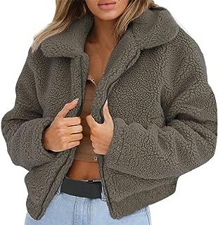 Sanyyanlsy Women's Daily Fashion Faux Fur Wool Coat Winter Ladies Lapel Zip Up Short Jacket Winter Parka Outerwear Tops