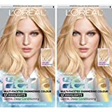 L'Oreal Paris Feria Multi-Faceted Shimmering Permanent Hair Color, 100 Pure Diamond, Pack of 2, Hair Dye