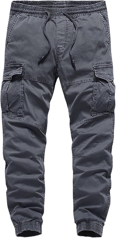 VAIFTILNO Cargo Pants for Men Long Sweatpants with Pockets Loose Fit Men's Drawstring Casual Trouser Cotton Comfortable Pants