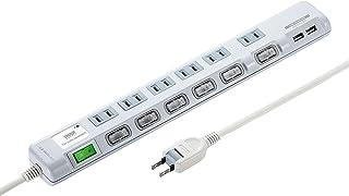 サンワサプライ USB充電ポート付き節電タップ(面ファスナー付き) 2P・6個口 2m TAP-B108U-2W