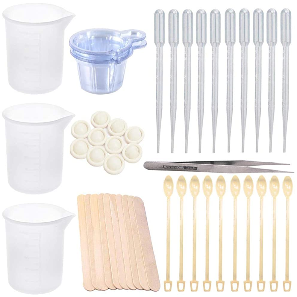 64 Pieces Resin Cups Casting Tools Kit, Including 100ml Silicone Measuring Cups,Disposable Cups,Stir Bars,Straight Tweezers,Dropping Pipettes, Stir Bars and Finger Cots for Epoxy Resin,Casting Molds