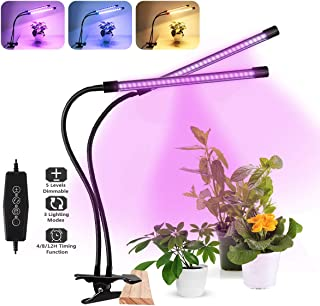 LED Grow Light, Full Spectrum Dual-Head 60 LED 50W Clip-on Plant Light for Indoor Plants Seedlings Succulents,3 Modes & 5-Level Dimmable,Auto On/Off Timer 4H/8H/12H