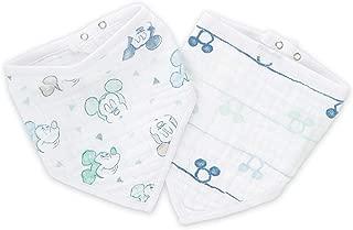 "aden by aden + Anais Disney Bandana Bib, 100% Cotton Muslin, Soft Absorbent 3 Layers, Adjustable, 8.5"" X 16"", 2 Pack, Mickey Bubble"