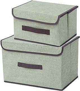 SHULLIN 2点セット 収納ケース 収納ボックス おしゃれ 折りたたみ収納ケース 大容量 洗える不織布 無臭綿麻 防塵 衣類 おもちゃ ベビー用品 書類 CD・DVD収納 家族、オフィス、学生などに適しています(1つは大きく、1つは小さい)...