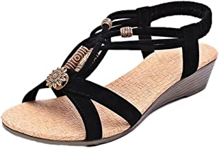 e914d6710 DaoAG - Shoes Womens Wedge Sandals Beaded Sandals Ankle Strap Flip-Flop  Sandles Elastic Strap