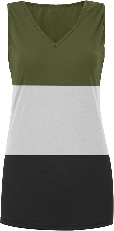 Uppada Women's Deep V Neck Tank Tops Casual Loose Color Block Button Sleeveless Blouses Vests Tunic Tee