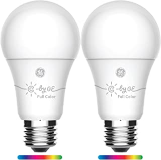 GE Lighting 93105377 C by GE Smart A19 Full Color, Works with Alexa and Google Assistant, WiFi Enabled, 2-Pack Connected LED Bulb