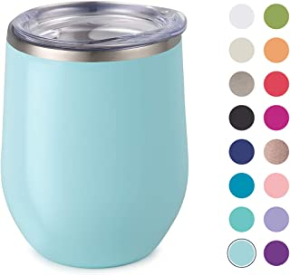 Maars Bev Stainless Steel Stemless Wine Glass Tumbler with Lid, Vacuum Insulated 12 oz Seafoam Blue Cup | Spill Proof, Travel Friendly, Fun Cocktail Drinkware
