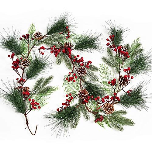 YQing 183 cm Beerengirlande Stechpalme Deko, Weihnachten Tannengirlande mit Tannenzapfen Beeren und Kiefernnadel, Künstliche Rote Beerengirlande für Kamin, Treppe, Tischdekoration