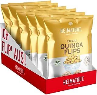 Heimatgut BIO Erdnuss-Quintar Flips, vegan & glutenfrei, zuckerarm und ohne Zusätze, Erdnussflips mit Quinoa, 6 x 115g Vorteilspackung