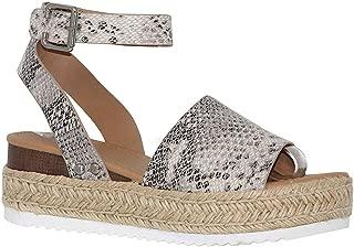 Womens Casual Platform Sandals Espadrilles Cork Studded Buckle Ankle Strap Wedge Summer Shoes