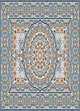 Phoenixsure Throw Blanket Vintage Persian Colored Carpet Rich Ornament for Design Blue Background Blue Tapestry Soft Warm Lightweight for Cozy Couch Bed and Plush Home Decor 50x60 Inches