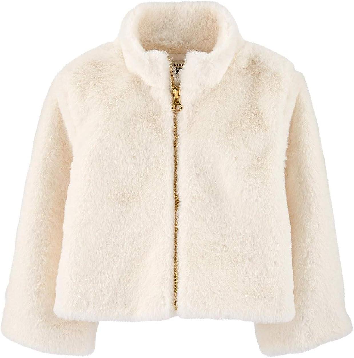 OshKosh B'gosh Girls' Super Soft Faux Fur Jacket with Full Zip Closure Size 4