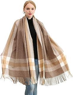 Longwu Donna Morbida sciarpa in lana di cashmere Grande scalda Pashminas e avvolgente coperta con stola calda