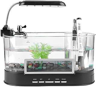 魚タンク USB充電式 ミニ水族館 小型 水槽 時計機能付き 多機能 LEDライト コンテナ付き(電池なし)(ブラック)