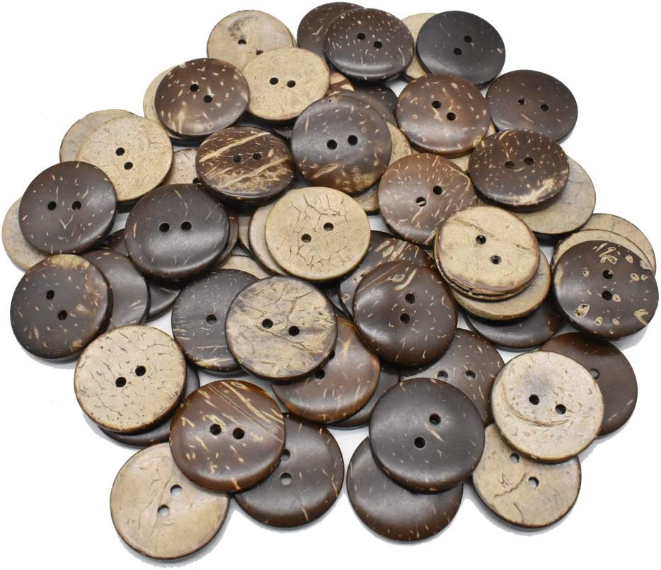 100Pcs Natural Coconut Shell Buttons Sewn-On Craft Buttons Round Brown Buttons for DIY Sewing DIY Crafts Supplies Decorations (25MM)
