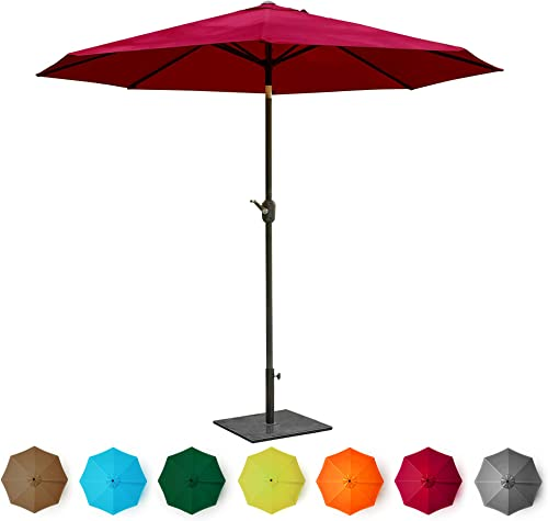 high quality BELLEZE 9' Patio Umbrella Outdoor Table Umbrella UV Garden with Heavy wholesale outlet sale Duty Backyard Sturdy Ribs (Red) outlet sale