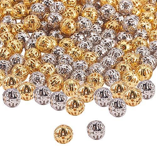 PandaHall Elite 200 piezas de cuentas redondas de filigrana de platino y oro con bolas huecas espaciadoras de metal para hacer collares y pulseras