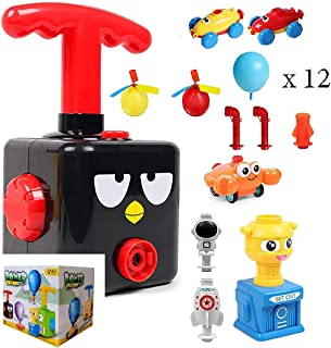 BAYDELKU - Space Balloon Powered Car - with 2 Balloon Helicopter Airplane - Balloon Power Astronaut Rocket Launcher (Black...
