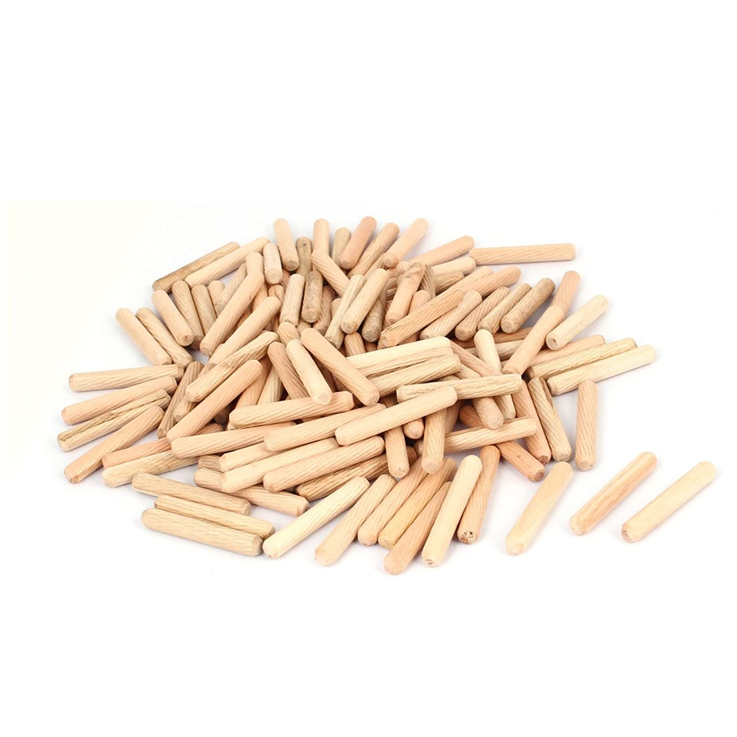 uxcell Cabinet Drawer 8mmx50mm Round Fluted Wood Wooden Craft Dowel Pin 100pcs