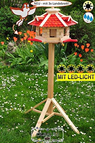BTV XXL Futterhaus, 65 cm XXL,Landebahn +LED,Holz rot mit Ständer
