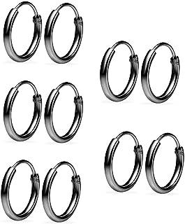 Sterling Silver 5 Pair Set 10mm Thin Round Unisex Endless Hoop Earrings for Women & Men