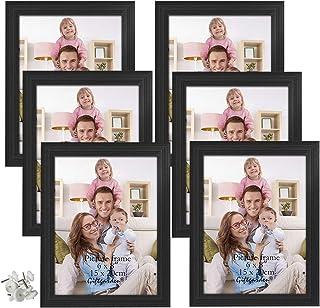 Giftgarden 6 Stück Schwarz Bilderrahmen Set 15×20 für Wandaufhängung und Tischplatten