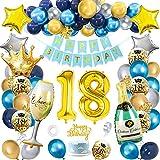 Palloncini 18 anni Compleanno Ragazzo, SWPEED 18 anni Navy Blu Oro Palloncini Compleanno Decorazioni, Addobbi Compleanno 18 anni Decorazioni per Feste Uomini e Donne, Regali per Compleanno 18 anni