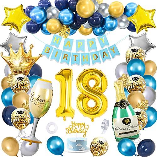 Decoracion 18 Cumpleaños Globos Niña Niño, SWPEED Azul Oro Plata Globos 18 cumpleaños, Regalo 18 años Chico, Pancarta Feliz Cumpleaños Numero 18 Globo Champán Globos, Adultos Decoración de Fiesta