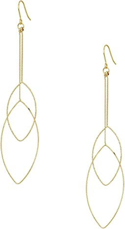 Kenneth Jay Lane Gold Chain and Double Teardrop Fishhook Earrings