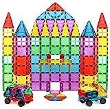 Magnet Build Magnet Tile Building Blocks Extra Strong Magnets & Super Durable 3D Tiles, Educational, Creative, Assorted Shapes & Vibrant Bright Colors (Set of 100), Multicolor (MB1639)
