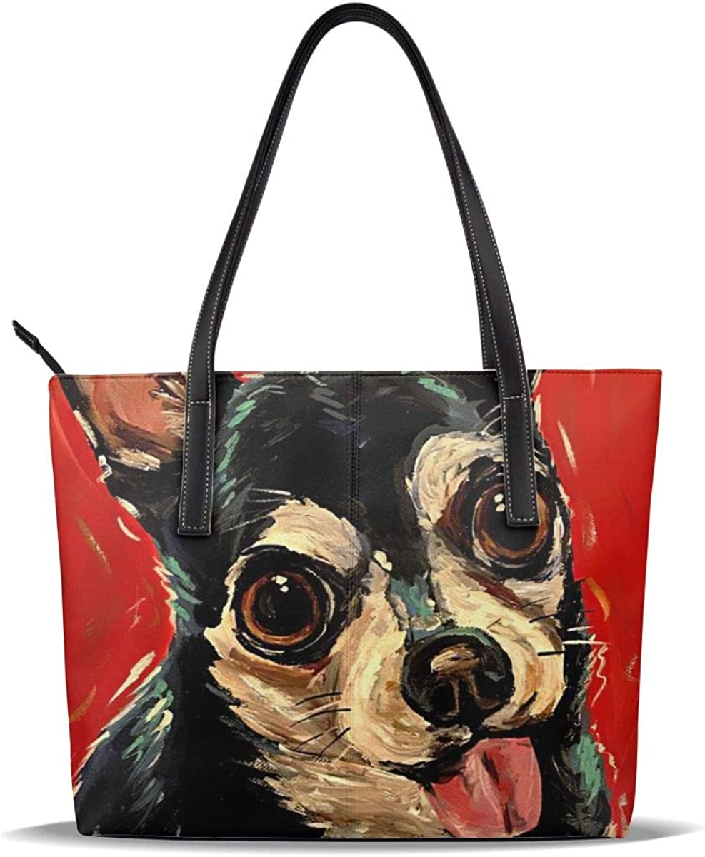 Chihuahua Art Dog Red Cute Pu Pattern Nippon regular agency Han Printed Leather Price reduction Casual