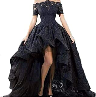 Women's Hi-Lo Prom Sleeve Lace Evening Dress Off The Shoulder Formal Dress