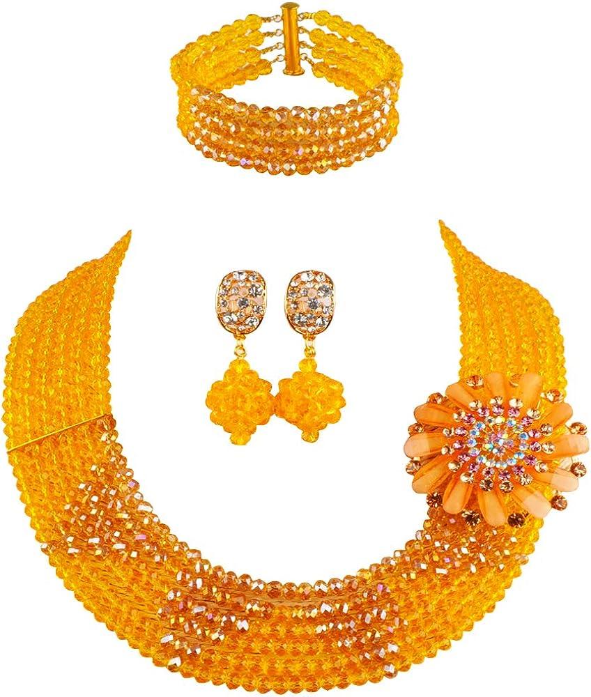 aczuv 6 Rows Crystal Nigerian Beaded Jewelry Set African Wedding Beads Bridal Jewelry Sets