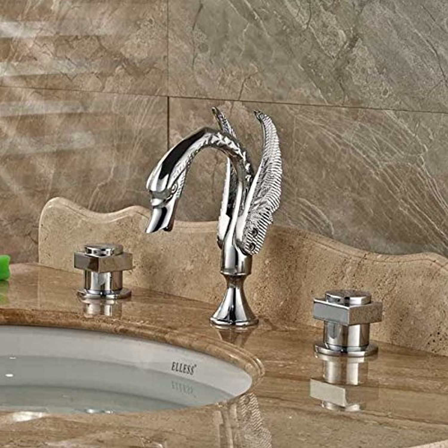 Maifeini The Shape Of The Swan Bathrooms Are Generally Basin Mixer Brass Chrome-Plated Double-Handle Basin Deck, Style 2