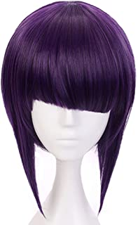 Anogol Hair Cap+Purple Cosplay Wig Costume Synthetic Hair Bob Wigs With Fringe Hairstyles