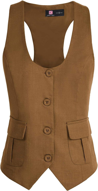 KANCY KOLE Women Waistcoat Button Vintage Vest Regular Fitted Fashion Dressy Suit with Pockets S-XXL