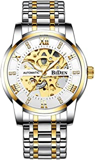 Delicate Skeleton Mechanical Watches for Men Automatic Slef-Wind Wrist Watch Luxury Stainless Steel Watch, Luminous Dial, ...