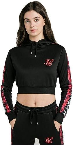 Sik Silk Rose Panel Poly Cropped Sweats à Capuche Femme Noir 10 S (petit)