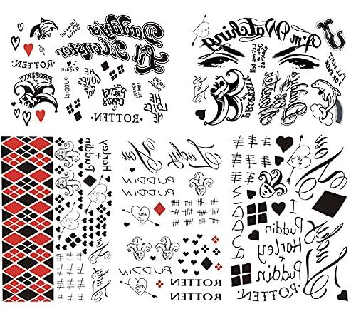 Women Tattoos, 5-Sheet Halloween Fake Temporary Tattoo Stickers for Women Girls Kids Halloween Costume Party Makeup