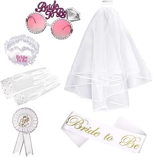 Foonii Braut zum Set Schärpe Strumpfband Rosette und weiße Hochzeit Brautschleier mit Kamm, Brille und Handschuhe, für Braut Dusche Henne Nacht Party Lieferungen, 6 Stück