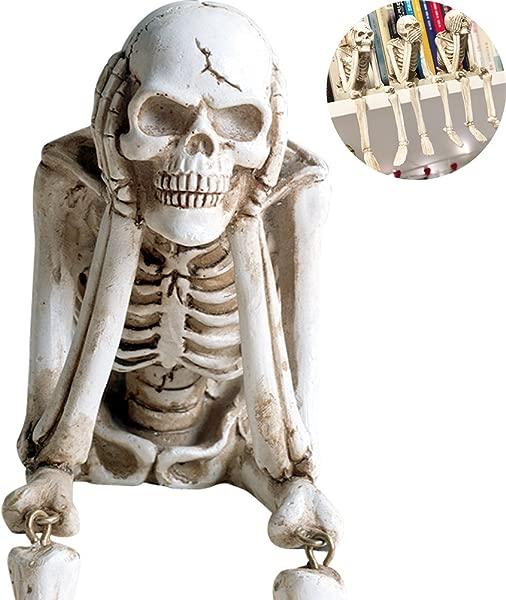 WINGOFFLY See Speak And Hear No Evil Figurine Shelf Sitter Skeleton Decorations Skull Statue Hear