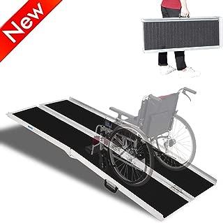 Jresboen Thicken Non-Skid Wheelchair Ramps for Home Steps Doorways Minivan, Professional Portable Multi-fold Lightweight Aluminum Wheelchair Scooter Ramp Threshold Ramps (Weight Limit 600 Lbs) (6ft)