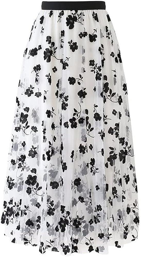 NP Women Spring Summer Elastic Waist Long Mesh Skirt Womens Pleated Suede