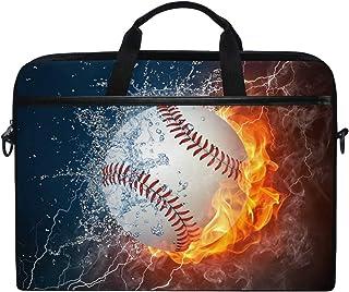 AUUXVA JOYPRINT Laptop Sleeve Case, Sport Baseball in Fire Water 14-14.5 inch Briefcase Messenger Notebook Computer Bag wi...